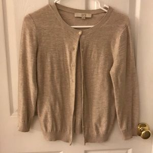 Button front natural beige cardigan